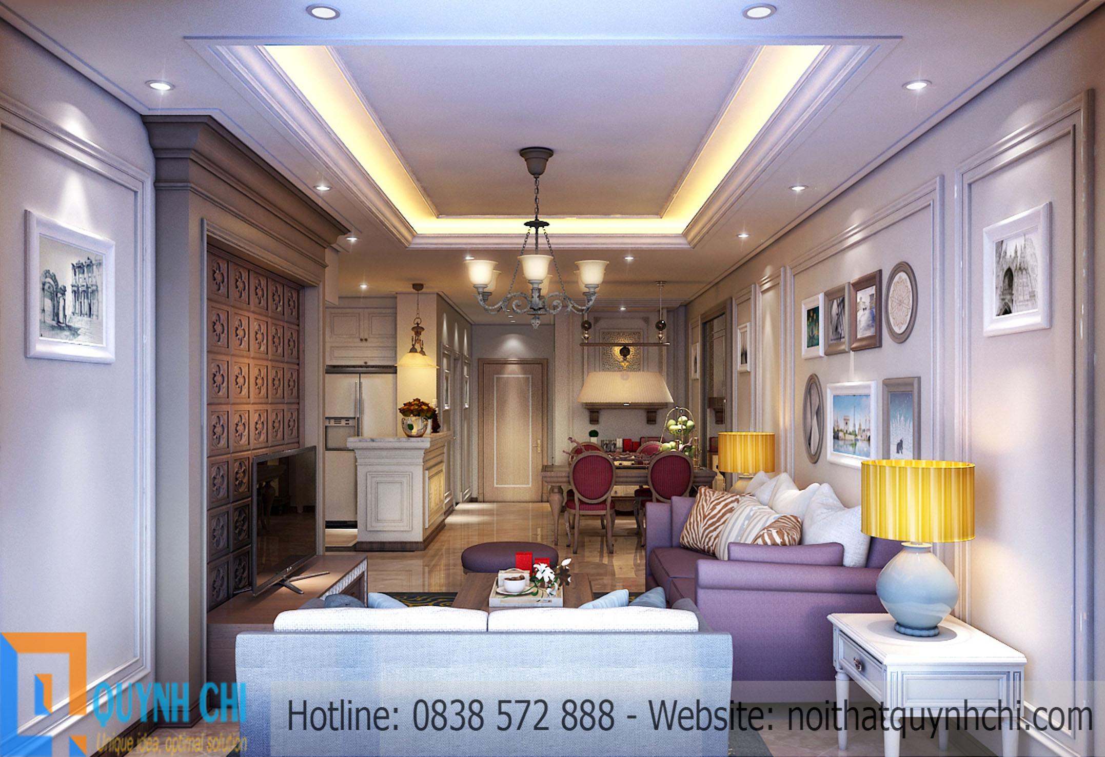 Thiết kế thi công nội thất chung cư tân cổ điển – Chung cư Thăng Long Number 1